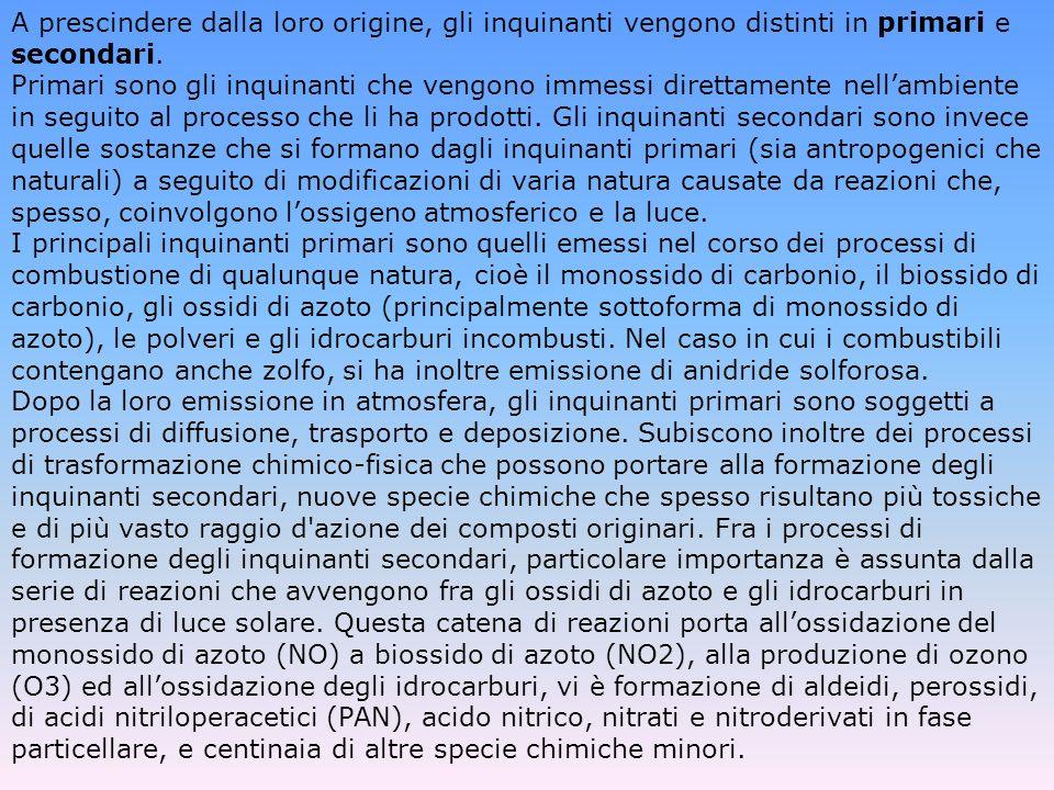 A prescindere dalla loro origine, gli inquinanti vengono distinti in primari e secondari.