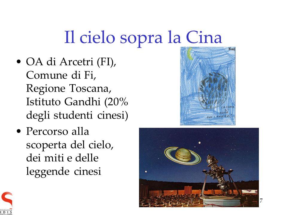 7 Il cielo sopra la Cina OA di Arcetri (FI), Comune di Fi, Regione Toscana, Istituto Gandhi (20% degli studenti cinesi) Percorso alla scoperta del cie