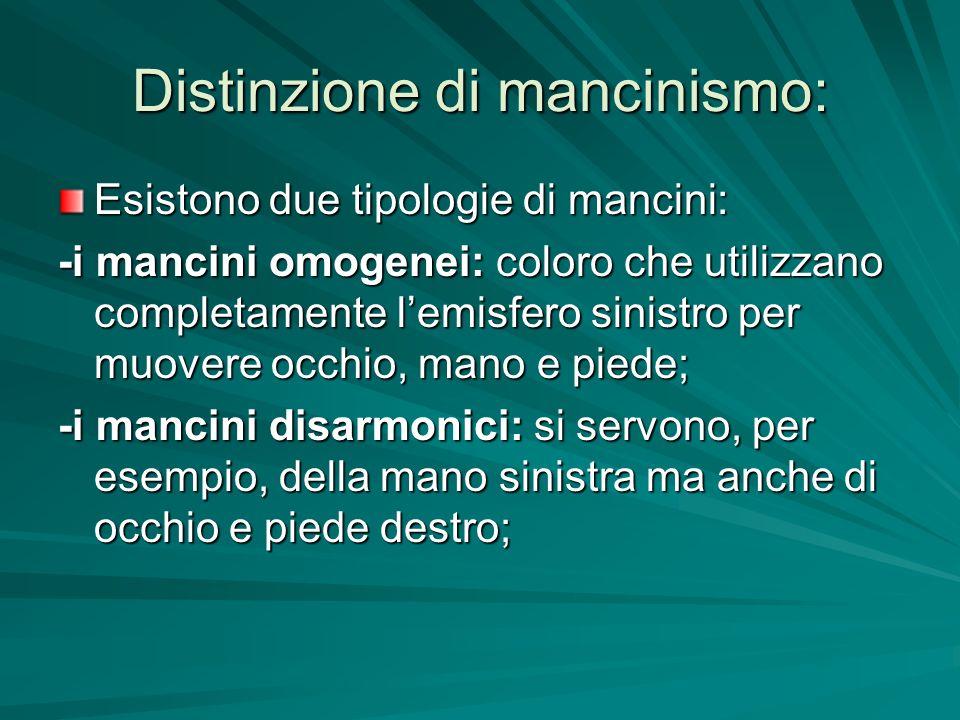 Distinzione di mancinismo: Esistono due tipologie di mancini: -i mancini omogenei: coloro che utilizzano completamente lemisfero sinistro per muovere