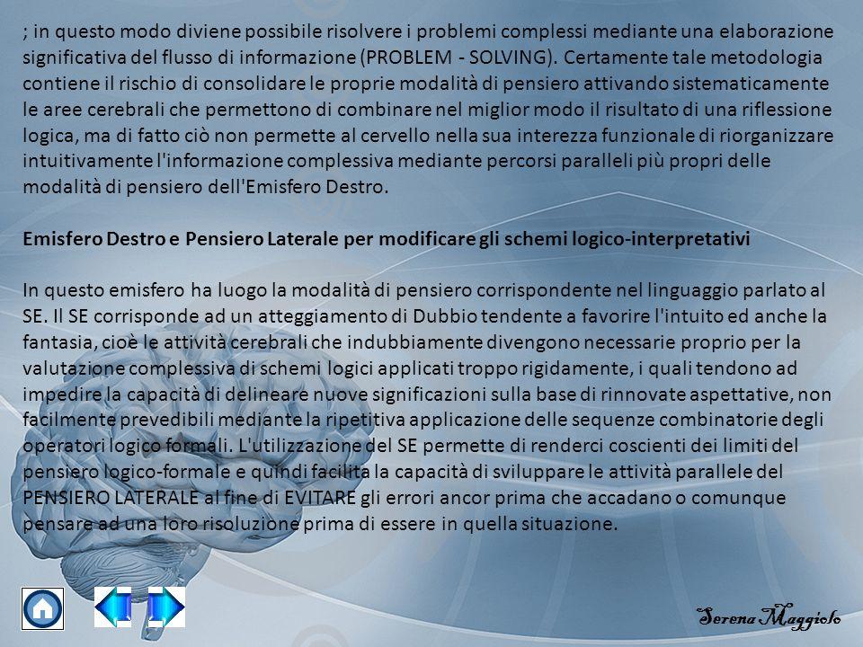 ; in questo modo diviene possibile risolvere i problemi complessi mediante una elaborazione significativa del flusso di informazione (PROBLEM - SOLVING).