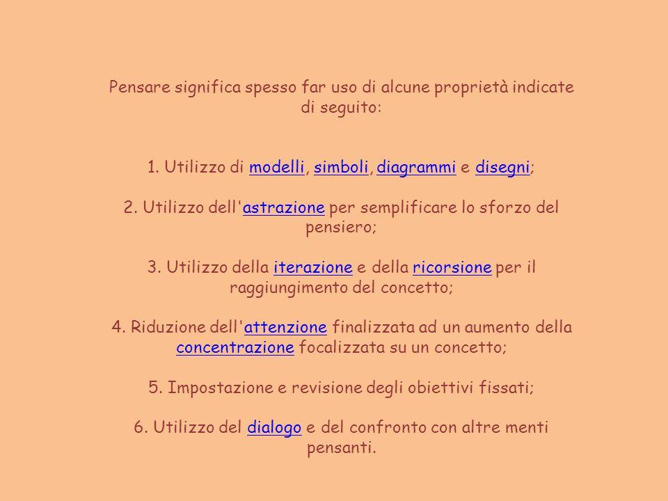 Pensare significa spesso far uso di alcune proprietà indicate di seguito: 1. Utilizzo di modelli, simboli, diagrammi e disegni;modellisimbolidiagrammi