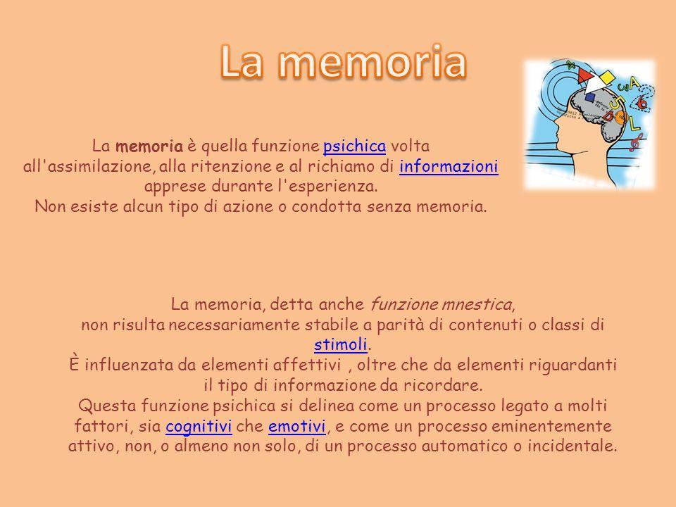 La memoria è quella funzione psichica voltapsichica all'assimilazione, alla ritenzione e al richiamo di informazioniinformazioni apprese durante l'esp