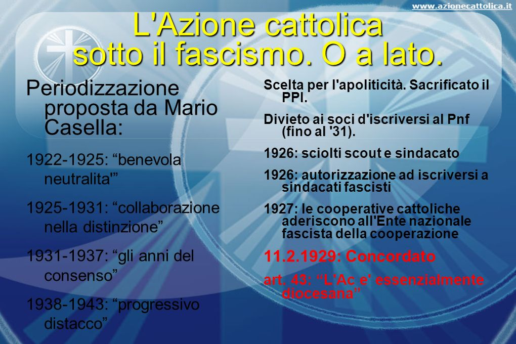 L'Azione cattolica sotto il fascismo. O a lato. Periodizzazione proposta da Mario Casella: 1922-1925: benevola neutralita' 1925-1931: collaborazione n