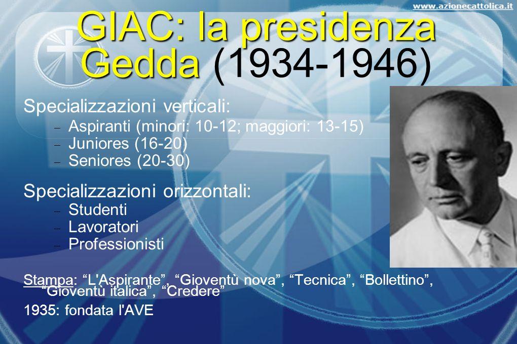 GIAC: la presidenza Gedda GIAC: la presidenza Gedda (1934-1946) Specializzazioni verticali: Aspiranti (minori: 10-12; maggiori: 13-15) Juniores (16-20