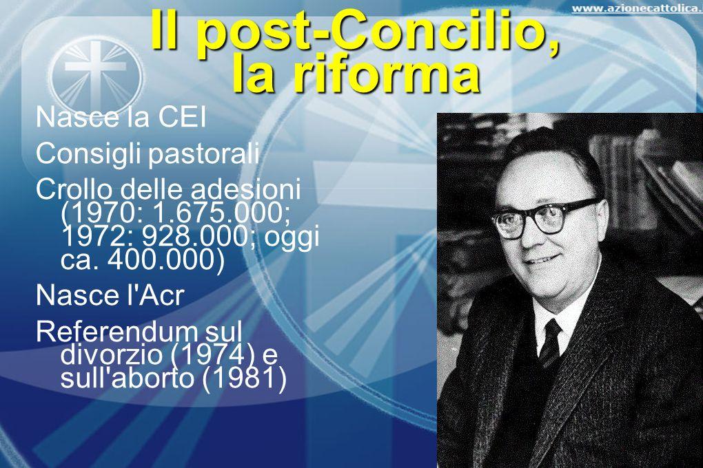 Il post-Concilio, la riforma Nasce la CEI Consigli pastorali Crollo delle adesioni (1970: 1.675.000; 1972: 928.000; oggi ca. 400.000) Nasce l'Acr Refe