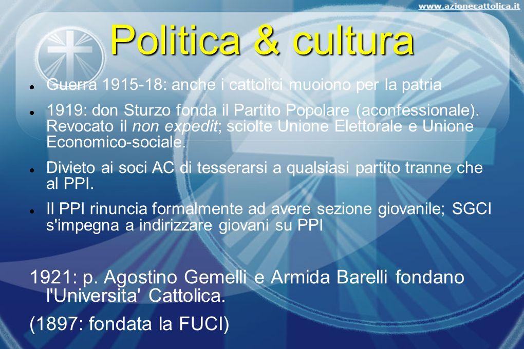 Politica & cultura Guerra 1915-18: anche i cattolici muoiono per la patria 1919: don Sturzo fonda il Partito Popolare (aconfessionale). Revocato il no