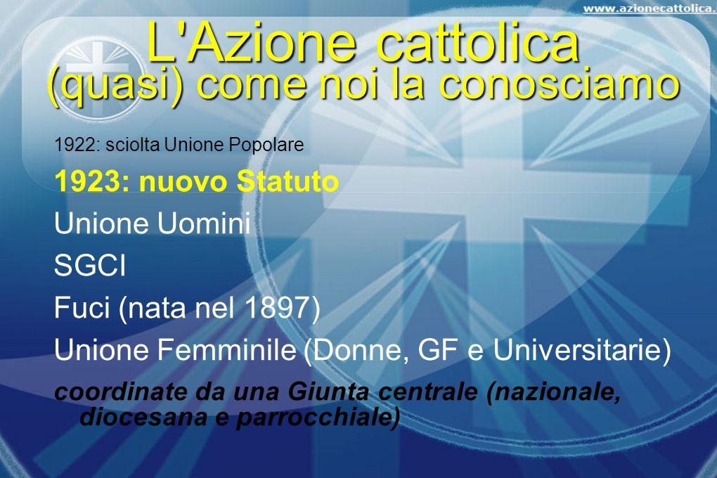 1922: sciolta Unione Popolare 1923: nuovo Statuto Unione Uomini SGCI Fuci (nata nel 1897) Unione Femminile (Donne, GF e Universitarie) coordinate da u