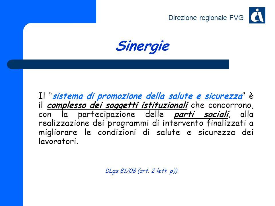 Direzione regionale FVG Sinergie Il sistema di promozione della salute e sicurezza è il complesso dei soggetti istituzionali che concorrono, con la pa