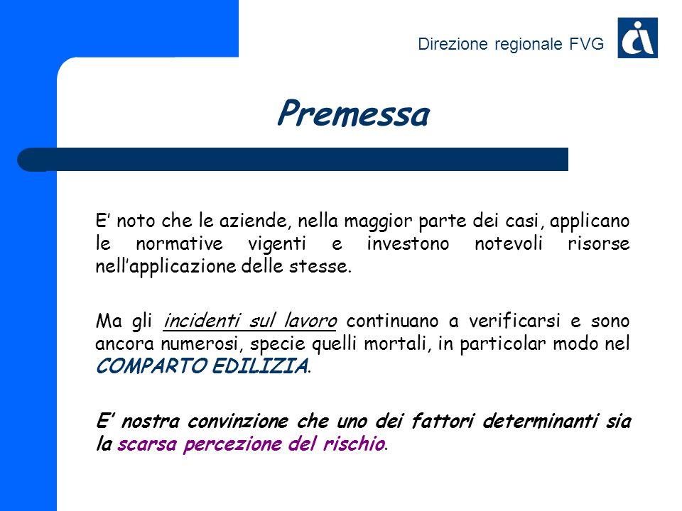 Direzione regionale FVG Premessa E noto che le aziende, nella maggior parte dei casi, applicano le normative vigenti e investono notevoli risorse nell