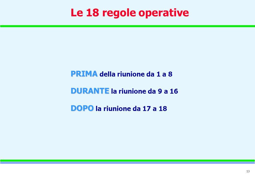 13 Le 18 regole operative PRIMA PRIMA della riunione da 1 a 8 DURANTE DURANTE la riunione da 9 a 16 DOPO DOPO la riunione da 17 a 18