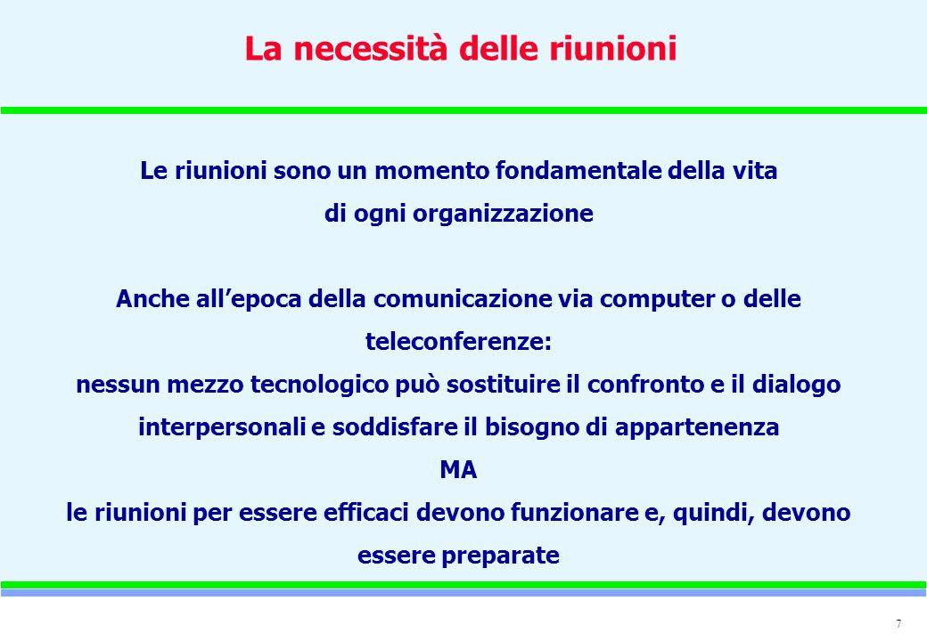 7 La necessità delle riunioni Le riunioni sono un momento fondamentale della vita di ogni organizzazione Anche allepoca della comunicazione via comput