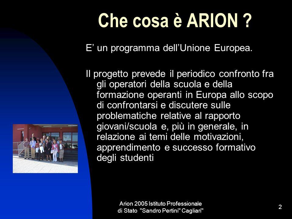 Arion 2005 Istituto Professionale di Stato Sandro Pertini Cagliari 2 Che cosa è ARION .