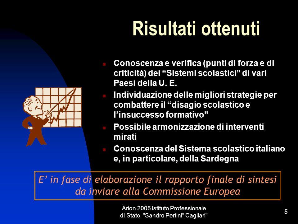 Arion 2005 Istituto Professionale di Stato Sandro Pertini Cagliari 5 Risultati ottenuti Conoscenza e verifica (punti di forza e di criticità) dei Sistemi scolastici di vari Paesi della U.