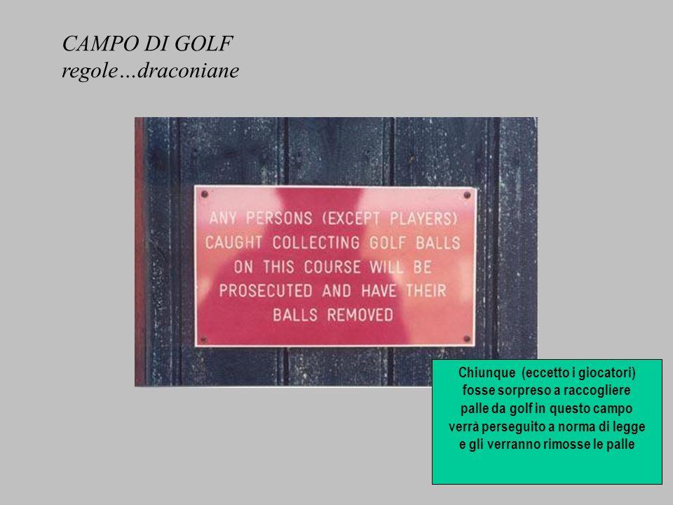 Chiunque (eccetto i giocatori) fosse sorpreso a raccogliere palle da golf in questo campo verrà perseguito a norma di legge e gli verranno rimosse le palle CAMPO DI GOLF regole…draconiane
