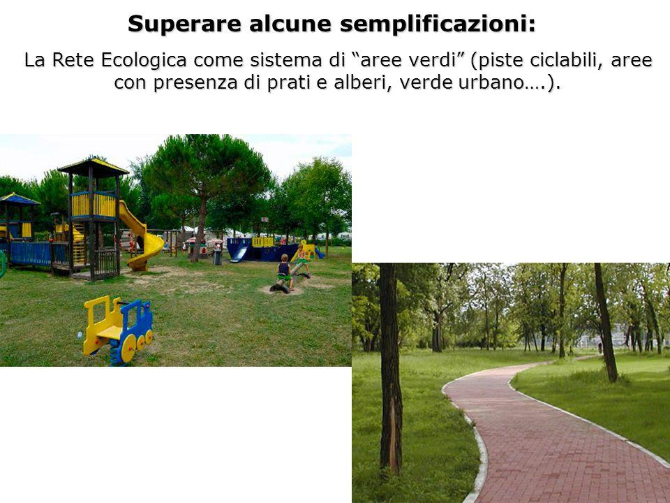 La Rete Ecologica come sistema di aree verdi (piste ciclabili, aree con presenza di prati e alberi, verde urbano….). Superare alcune semplificazioni:
