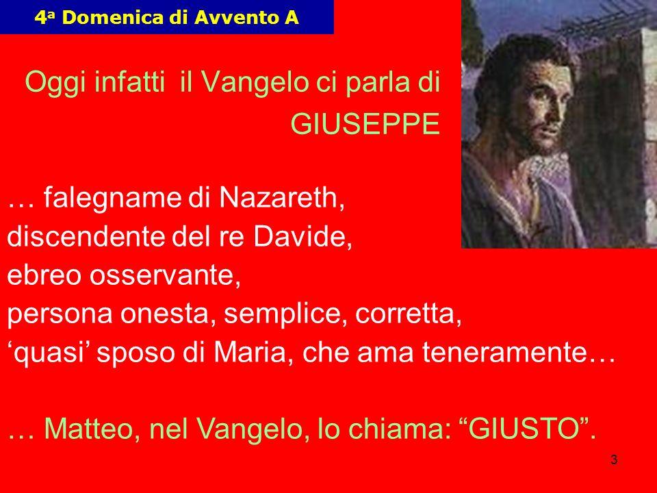 3 Oggi infatti il Vangelo ci parla di GIUSEPPE … falegname di Nazareth, discendente del re Davide, ebreo osservante, persona onesta, semplice, corrett