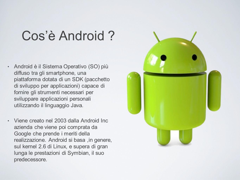 Cosè Android ? Android è il Sistema Operativo (SO) più diffuso tra gli smartphone, una piattaforma dotata di un SDK (pacchetto di sviluppo per applica