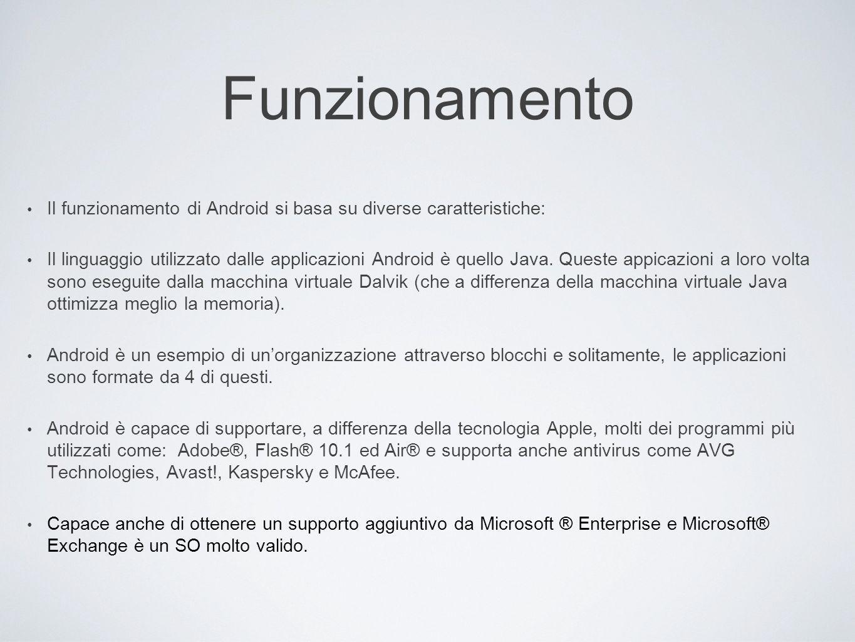 Funzionamento Il funzionamento di Android si basa su diverse caratteristiche: Il linguaggio utilizzato dalle applicazioni Android è quello Java. Quest