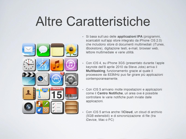 Altre Caratteristiche Si basa sull uso delle applicazioni IPA (programmi, scaricabili sull app store integrato da iPhone OS 2.0) che includono store d