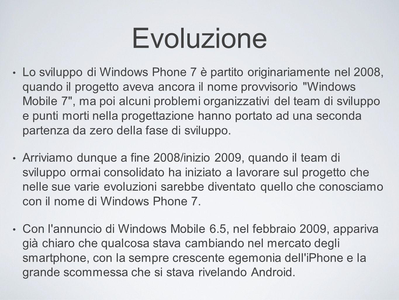 Evoluzione Lo sviluppo di Windows Phone 7 è partito originariamente nel 2008, quando il progetto aveva ancora il nome provvisorio
