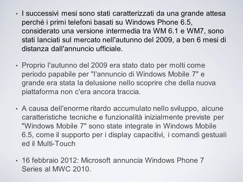 Windows Mobile 200323 Giugno 2003 Windows Mobile 2003 SE2003 Windows CE 5.XAgosto 2004 Windows Mobile 5.0Agosto 2004 Windows Mobile 6.012 Febbraio 2007 Windows Mobile 6.11 Aprile 2008 Windows Mobile 6.5Febbraio 2009 Windows Phone 715 Febbraio 2010 Windows Phone 7.5 (Mango)Settembre 2011 Windows Phone 7.8NON USCITO Windows Phone 829 Ottobre 2012