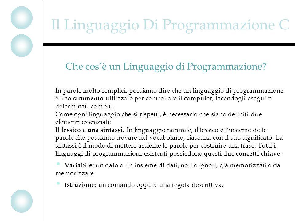 Il Linguaggio Di Programmazione C In parole molto semplici, possiamo dire che un linguaggio di programmazione è uno strumento utilizzato per controllare il computer, facendogli eseguire determinati compiti.