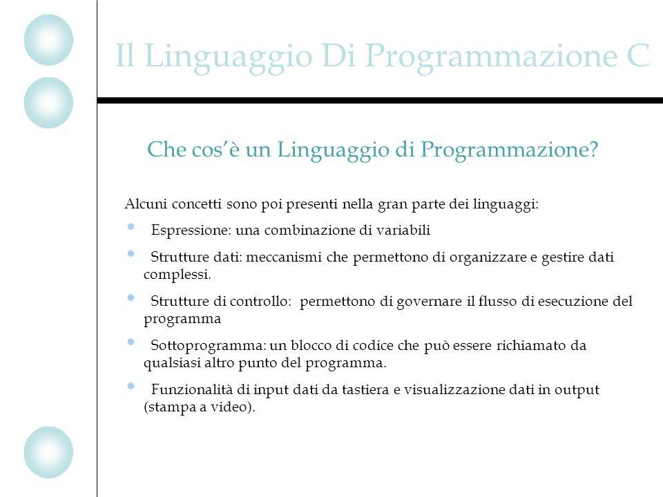Il Linguaggio Di Programmazione C Alcuni concetti sono poi presenti nella gran parte dei linguaggi: Espressione: una combinazione di variabili Strutture dati: meccanismi che permettono di organizzare e gestire dati complessi.