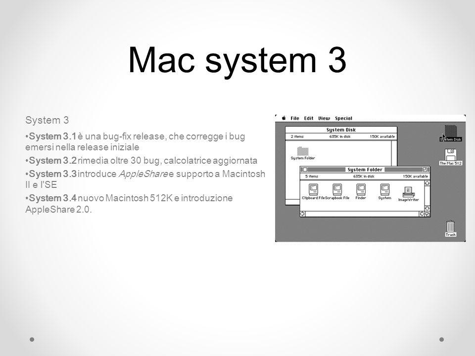 Mac system 3 System 3 System 3.1 è una bug-fix release, che corregge i bug emersi nella release iniziale System 3.2 rimedia oltre 30 bug, calcolatrice aggiornata System 3.3 introduce AppleShare e supporto a Macintosh II e l SE System 3.4 nuovo Macintosh 512K e introduzione AppleShare 2.0.