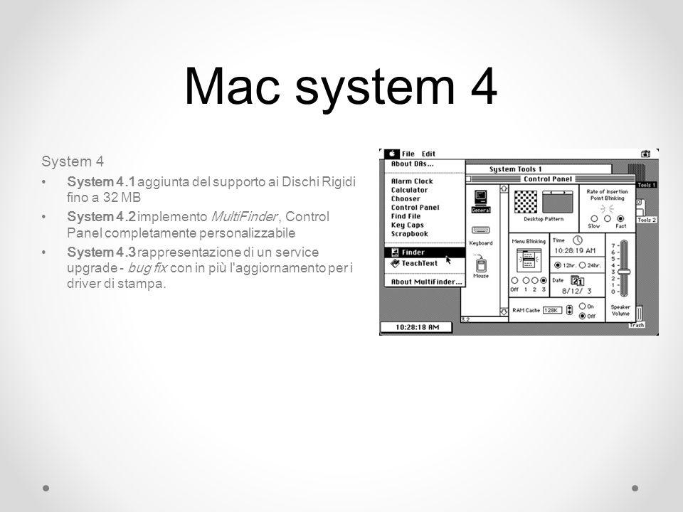 Mac system 4 System 4 System 4.1 aggiunta del supporto ai Dischi Rigidi fino a 32 MB System 4.2 implemento MultiFinder, Control Panel completamente personalizzabile System 4.3 rappresentazione di un service upgrade - bug fix con in più l aggiornamento per i driver di stampa.