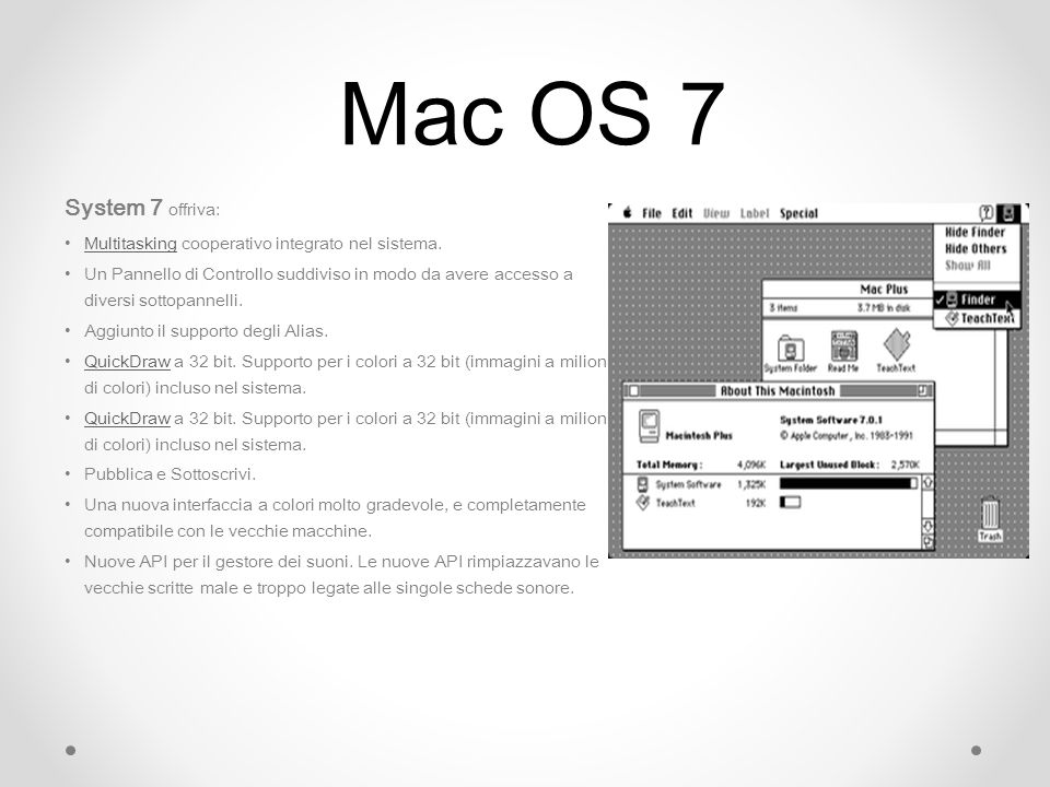 Mac OS 7 System 7 offriva: Multitasking cooperativo integrato nel sistema.Multitasking Un Pannello di Controllo suddiviso in modo da avere accesso a d