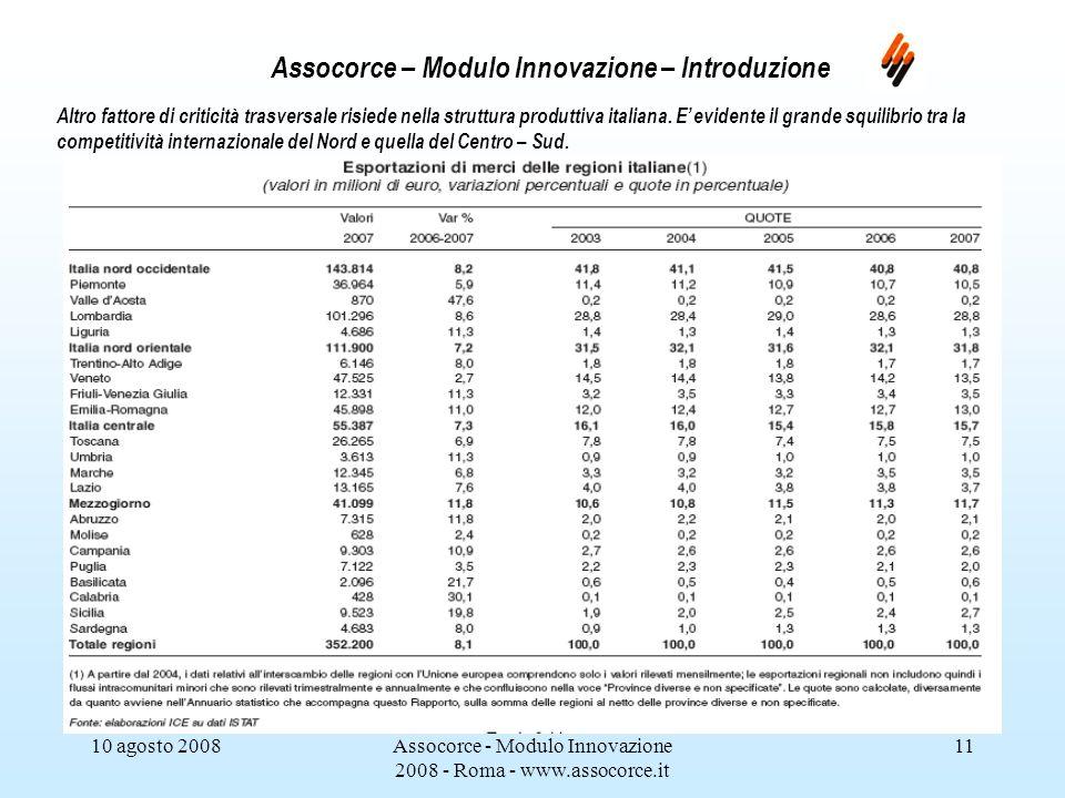 10 agosto 2008Assocorce - Modulo Innovazione 2008 - Roma - www.assocorce.it 11 Assocorce – Modulo Innovazione – Introduzione Altro fattore di criticità trasversale risiede nella struttura produttiva italiana.