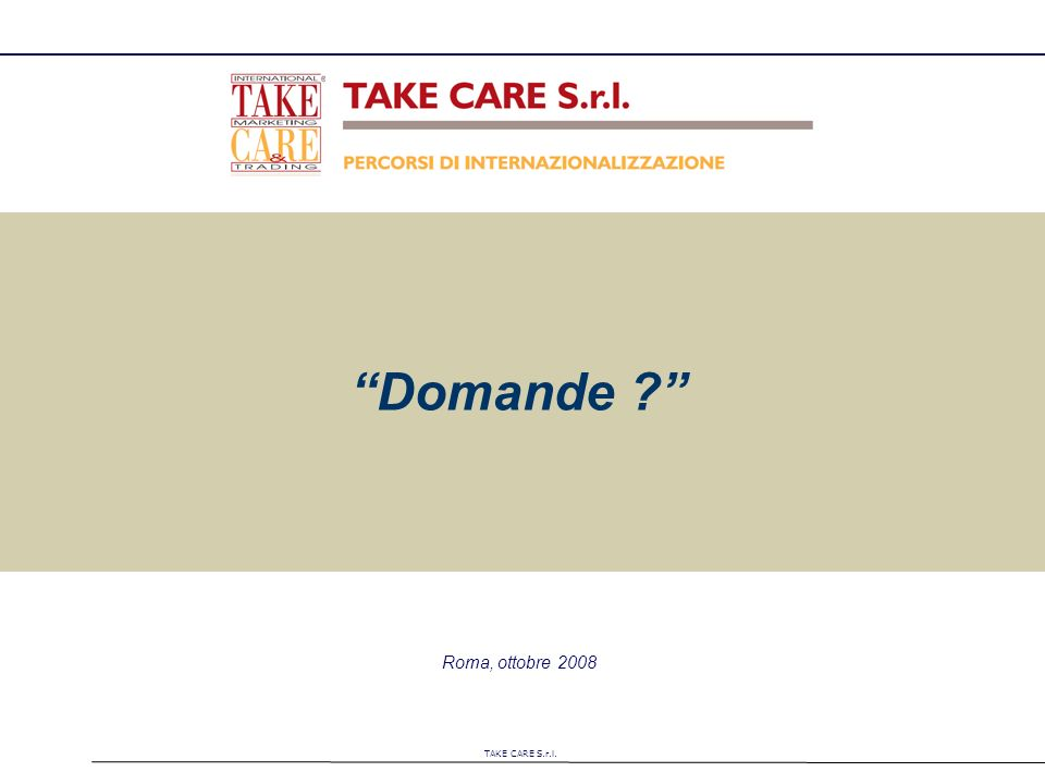 TAKE CARE S.r.l. Roma, ottobre 2008 Domande