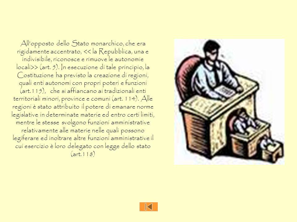 Allopposto dello Stato monarchico, che era rigidamente accentrato, > (art. 5). In esecuzione di tale principio, la Costituzione ha previsto la creazio