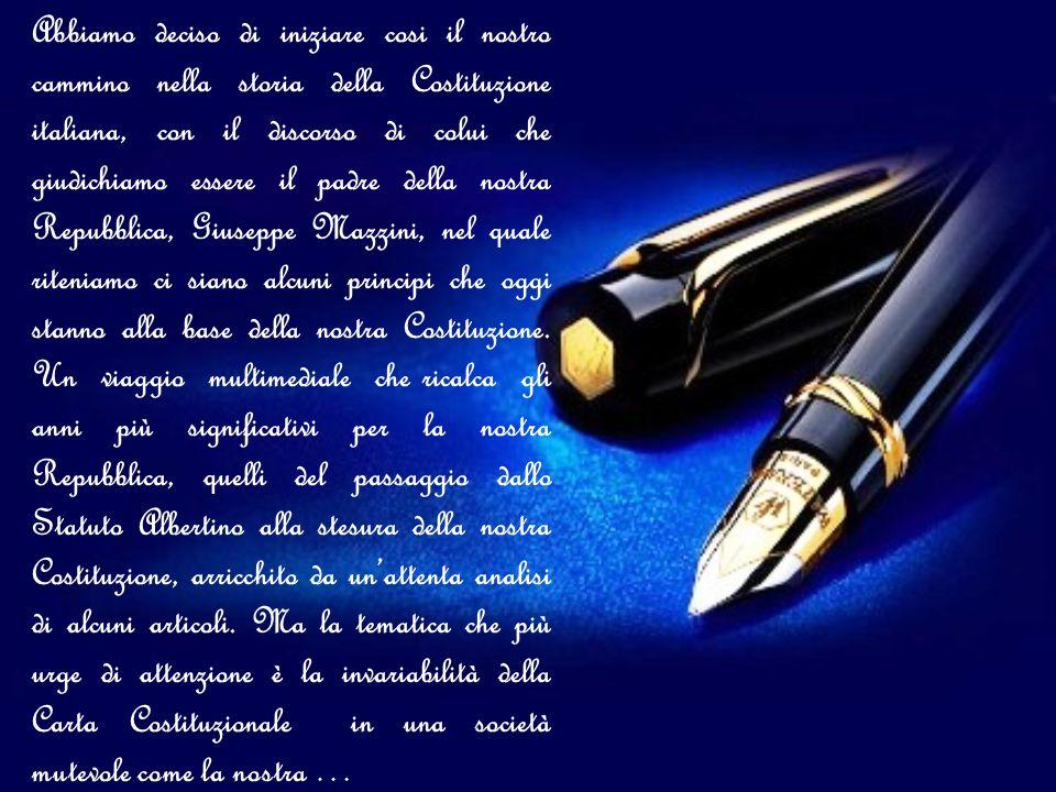Abbiamo deciso di iniziare cosi il nostro cammino nella storia della Costituzione italiana, con il discorso di colui che giudichiamo essere il padre d