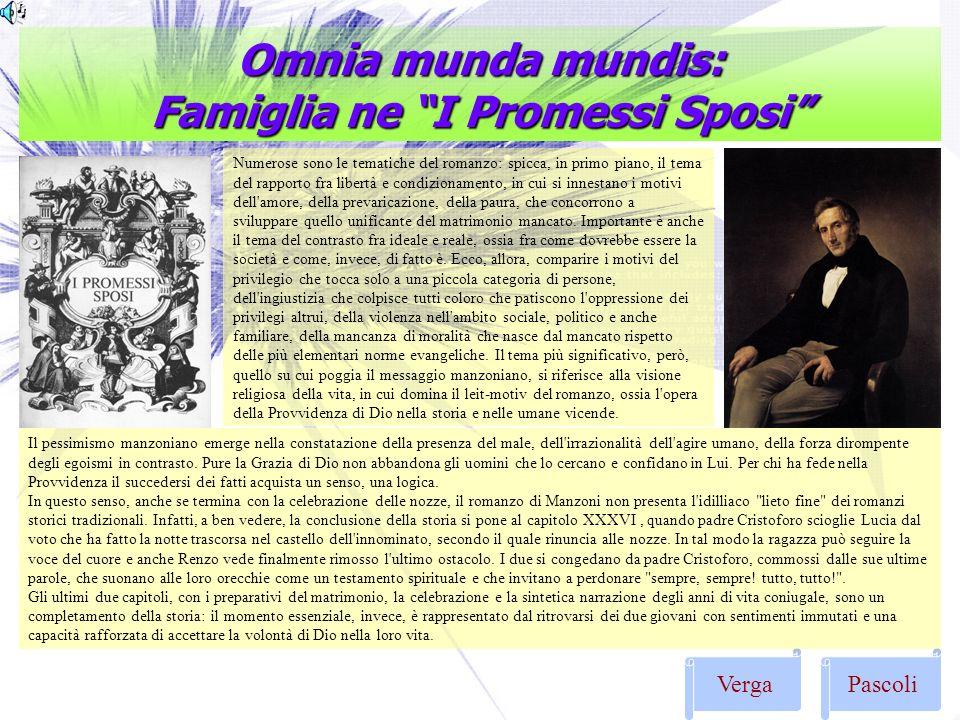 Omnia munda mundis: Famiglia ne I Promessi Sposi VergaPascoli Numerose sono le tematiche del romanzo: spicca, in primo piano, il tema del rapporto fra