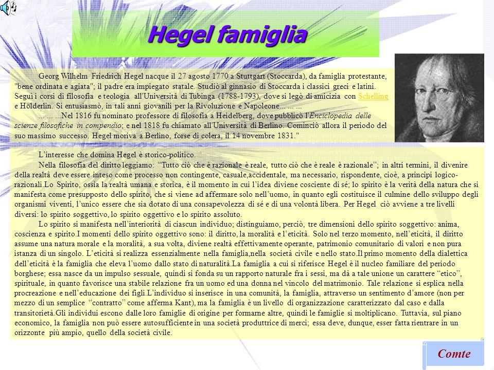 Hegel famiglia Comte Georg Wilhelm Friedrich Hegel nacque il 27 agosto 1770 a Stuttgart (Stoccarda), da famiglia protestante,