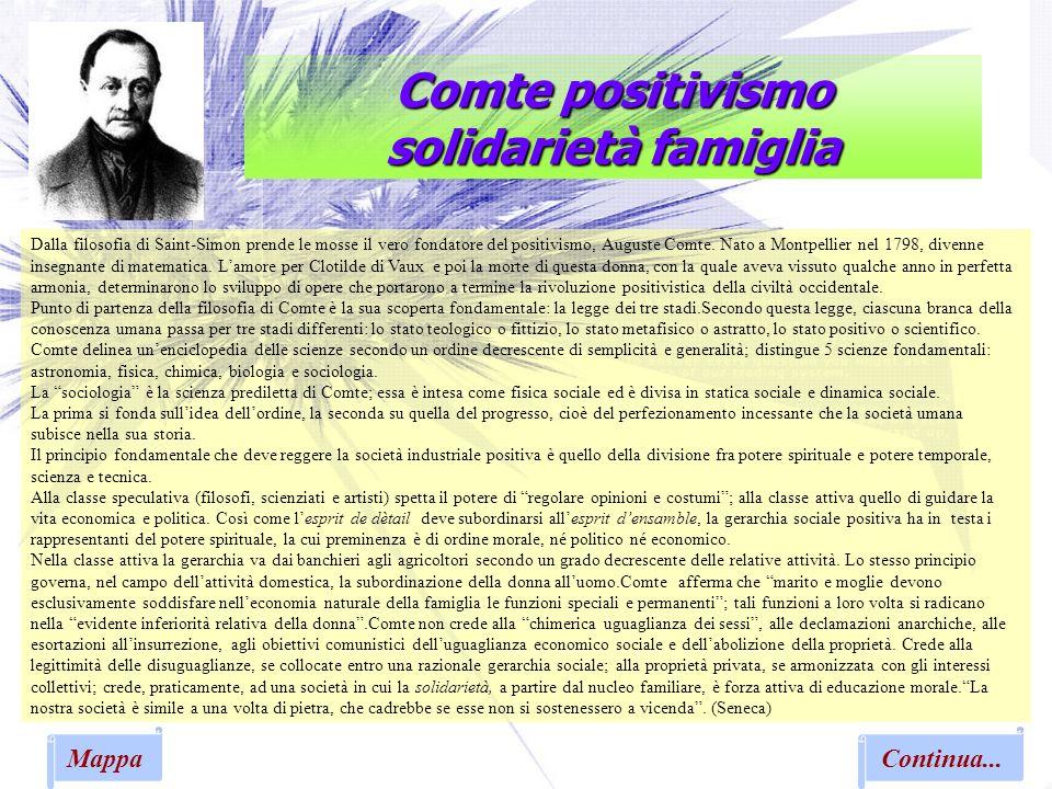 Comte positivismo solidarietà famiglia Dalla filosofia di Saint-Simon prende le mosse il vero fondatore del positivismo, Auguste Comte. Nato a Montpel