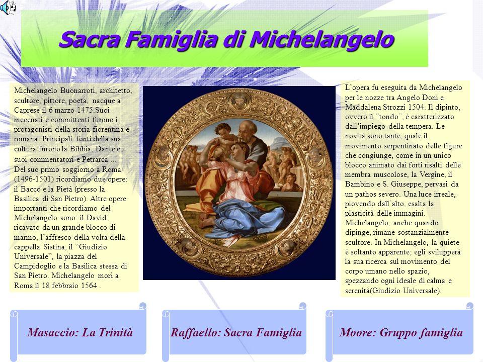 Sacra Famiglia di Michelangelo Masaccio: La TrinitàRaffaello: Sacra FamigliaMoore: Gruppo famiglia Michelangelo Buonarroti, architetto, scultore, pitt