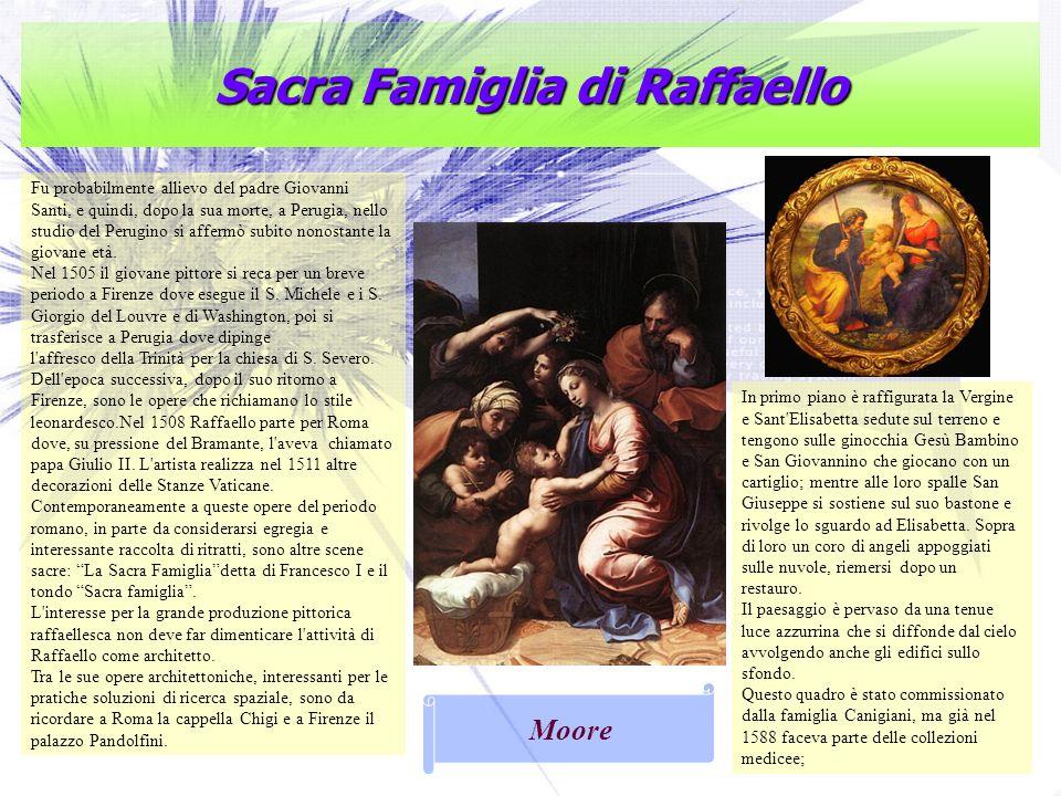 Sacra Famiglia di Raffaello Fu probabilmente allievo del padre Giovanni Santi, e quindi, dopo la sua morte, a Perugia, nello studio del Perugino si af
