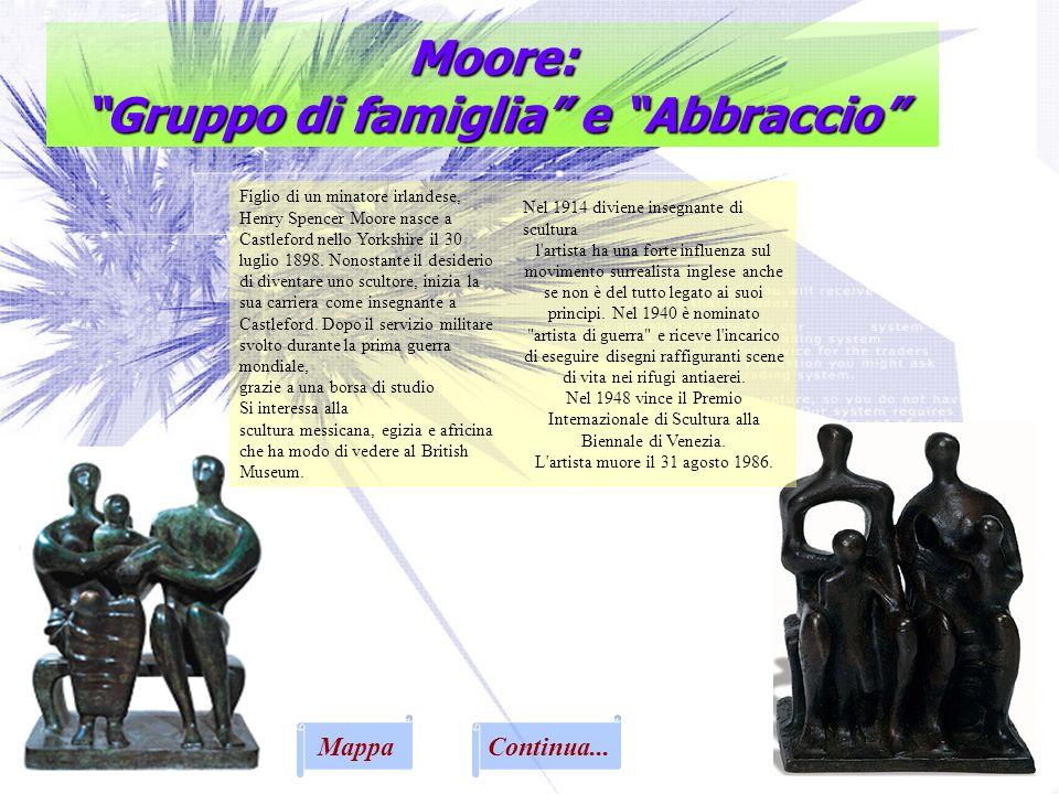 Moore: Gruppo di famiglia e Abbraccio Figlio di un minatore irlandese, Henry Spencer Moore nasce a Castleford nello Yorkshire il 30 luglio 1898. Nonos