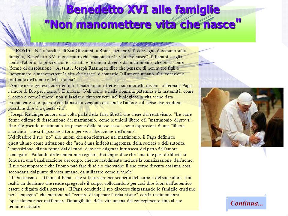Benedetto XVI alle famiglie