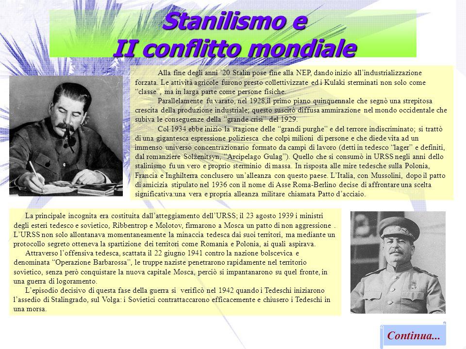Stanilismo e II conflitto mondiale Alla fine degli anni 20 Stalin pose fine alla NEP, dando inizio allindustrializzazione forzata. Le attività agricol