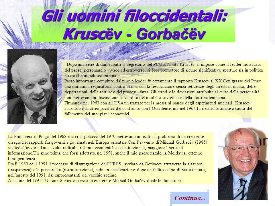 Gli uomini filoccidentali: Krusc ëv - Gorbačëv Continua... Dopo una serie di duri scontri il Segretario del PCUS, Nikita Kruscëv, si impose come il le