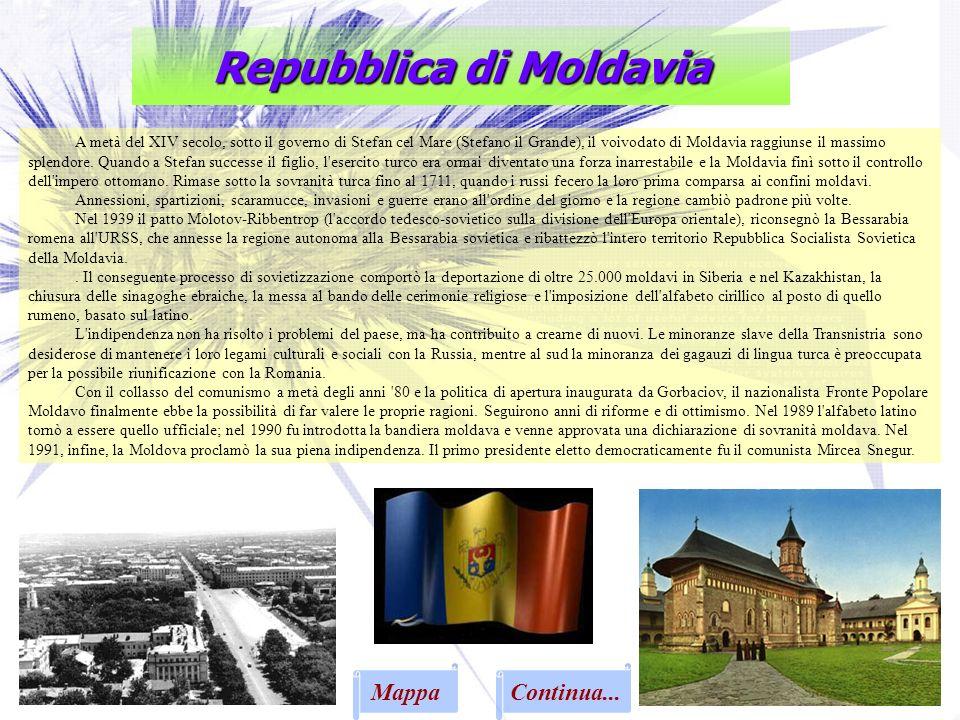 Repubblica di Moldavia A metà del XIV secolo, sotto il governo di Stefan cel Mare (Stefano il Grande), il voivodato di Moldavia raggiunse il massimo s