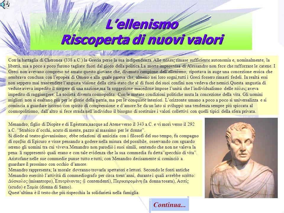 Lellenismo Riscoperta di nuovi valori Continua... Con la battaglia di Cheronea (338 a.C.) la Grecia perse la sua indipendenza. Alle πόλεις rimase suff