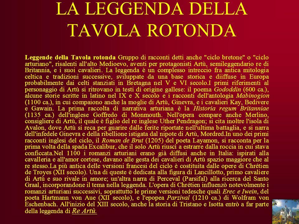 LA LEGGENDA DELLA TAVOLA ROTONDA Leggende della Tavola rotonda Gruppo di racconti detti anche