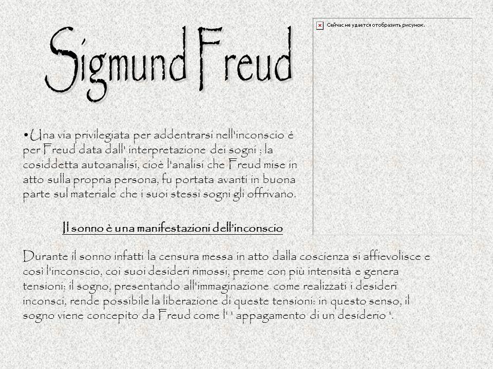 Una via privilegiata per addentrarsi nell'inconscio é per Freud data dall' interpretazione dei sogni ; la cosiddetta autoanalisi, cioè l'analisi che F