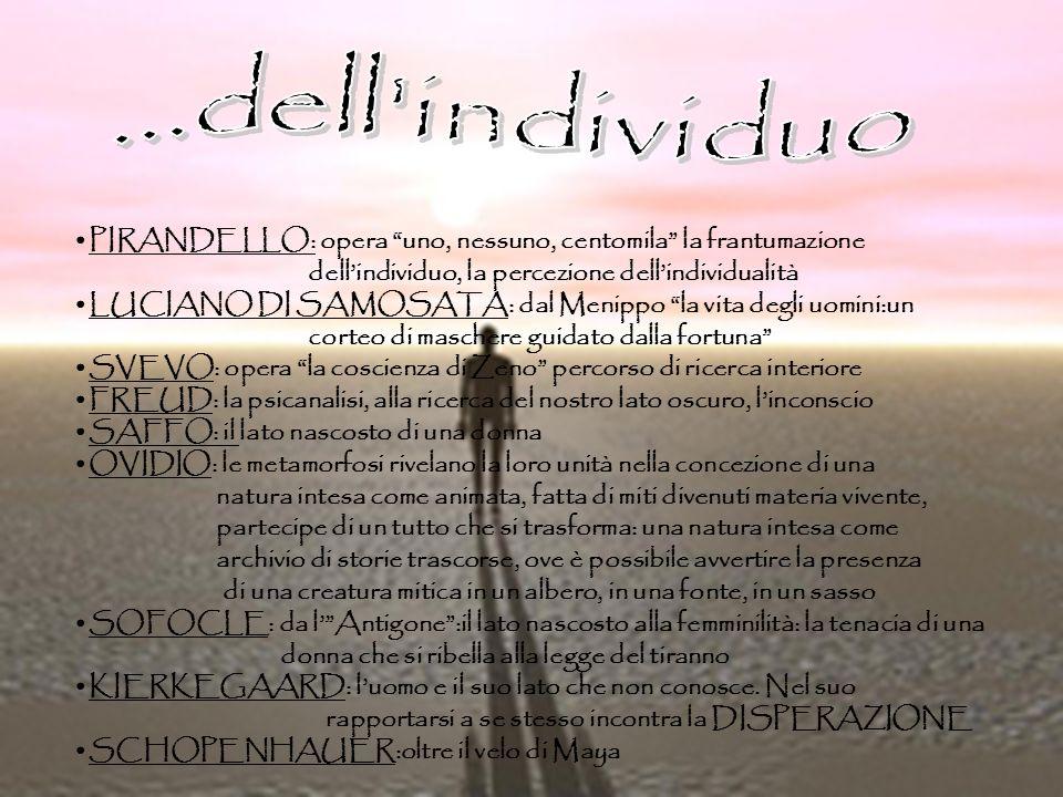 PIRANDELLO: opera uno, nessuno, centomila la frantumazione dellindividuo, la percezione dellindividualità LUCIANO DI SAMOSATA: dal Menippo la vita deg
