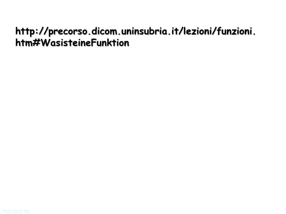 Prof.ssa A. Sia http://precorso.dicom.uninsubria.it/lezioni/funzioni. htm#WasisteineFunktion