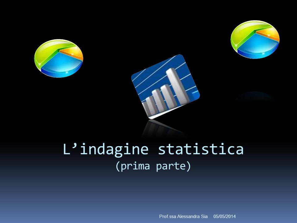Lindagine statistica (prima parte) 05/05/2014Prof.ssa Alessandra Sia